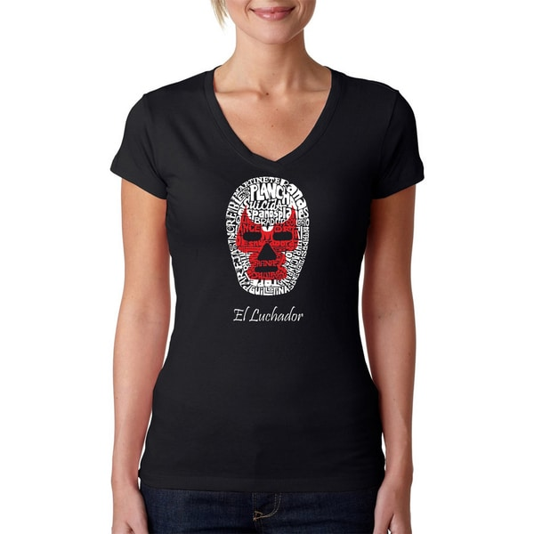 Los Angeles Pop Art Women's 'Luchador Wrestling Mask' Black T-shirt