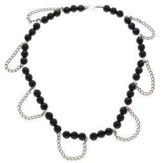 Handmade 'Cora' Obsidian Beaded Necklace