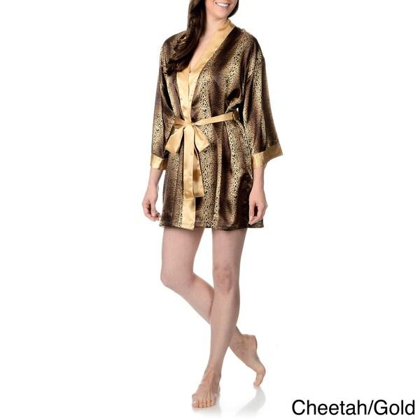 SoulMates Women's Animal Printed Satin Short Robe