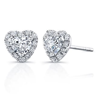14k White Gold 3/5ct TDW Diamond Heart Shape Stud Earrings (H-I, I1-I2)