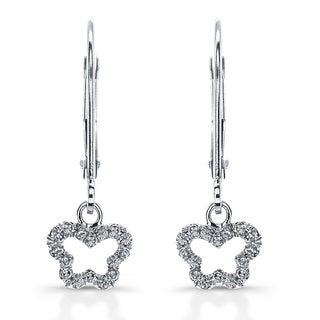 14k White Gold 1/10ct TDW Diamond Butterfly Drop Earrings (J-K, I2-I3)