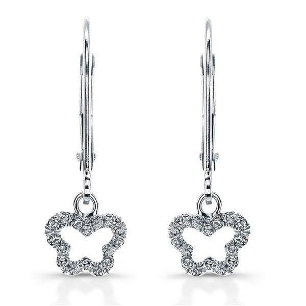 Victoria Kay 14k White Gold 1/10ct TDW Diamond Butterfly Drop Earrings (J-K, I2-I3) 12505802