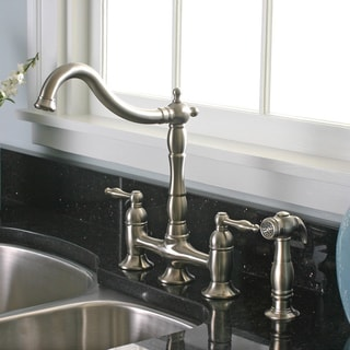 Charelstown 2-handle Brushed Nickel Lead-free Bridge-style Kitchen Faucet