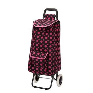 Eco-friendly Black/Pink Polka Dot Easy Rolling Lightweight Collapsible Shopping Cart Tote