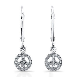 14k White Gold 1/8ct TDW Diamond Peace Sign Drop Earrings (J-K, I2-I3)