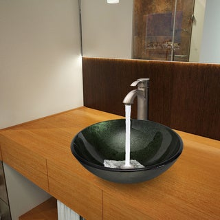 Vigo Emerald Glass Vessel Sink and Otis Brushed Nickel Faucet Set
