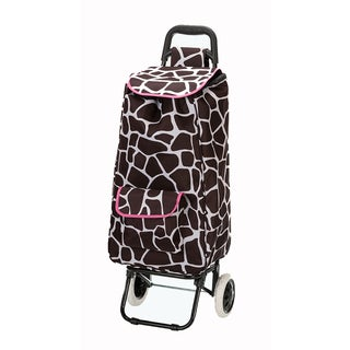 Eco-Friendly Easy Rolling Lightweight Collapsible Pink Giraffe Shopping Cart Tote