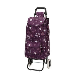 Eco-friendly Purple Pearl Easy Rolling Lightweight Collapsible Shopping Cart Tote