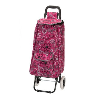 Eco-friendly Pink Paisley Easy Rolling Lightweight Collapsible Shopping Cart Tote