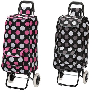 Eco-friendly Polka Dot Easy Rolling Lightweight Collapsible Shopping Cart Tote