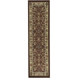 Oriental Design Brown/ Beige Runner Rug (2'x7')