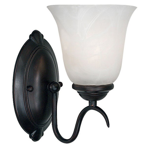 Fletcher 1-light Frosted Glass Oil-Rubbed Bronze Wall Sconce 12506047