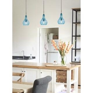 Nina 1-light Hanging Pendant Light - Blue Glass