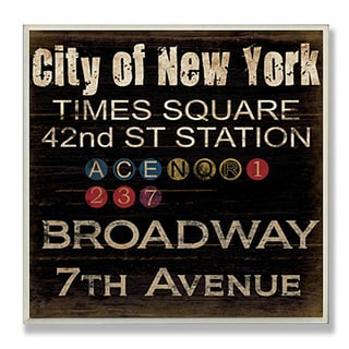 Grace Pullen 'City of New York Landmarks' Typography Square Wall Plaque
