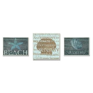 Marilu Windvand/ Carol Stevens 'Better Beach Serenity' 3-piece Oversized Plaque Set