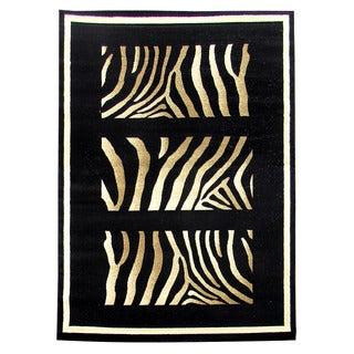 Tiffany 163 Animal Skin Black Area Rug (5'x7')