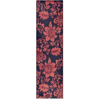 Ottomanson Black Dark Red Contemporary Floral Design