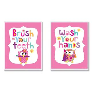 Girl's Bathroom Pink Owl 2-piece Wall Decor Set
