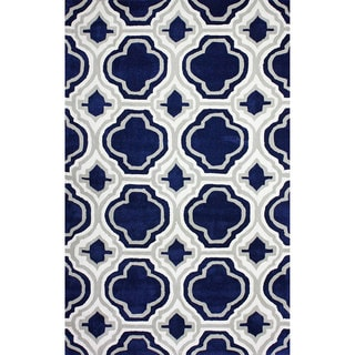 nuLOOM Hand-tufted Modern Moroccan Trellis Blue Rug (7'6 x 9'6)