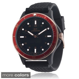 Geneva Platinum Men's Stainless Steel Silicone Band Watch