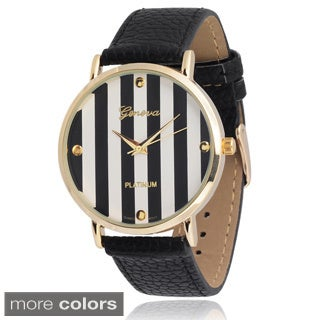 Geneva Platinum Women's Faux Leather Striped Dial Watch