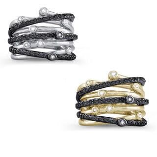 Sterling Silver 5/8ct TDW Black and White Multi-row Bezel Crossover Diamond Ring (J-K, I2-I3)