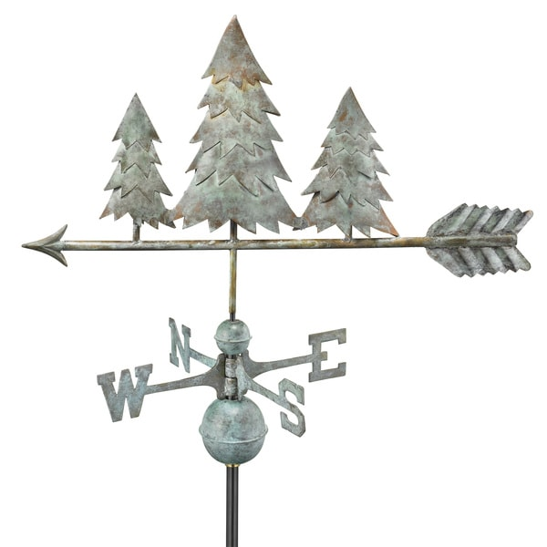 Good Directions Pine Trees Blue Verde Copper Weathervane