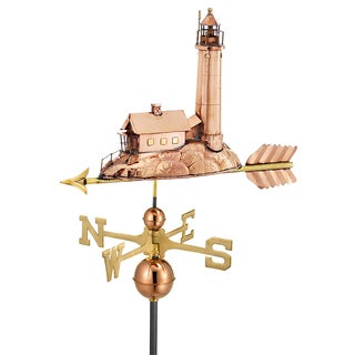 Good Directions Lighthouse Polished Copper Weathervane