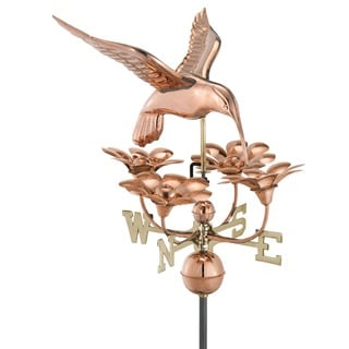 Good Directions Hummingbird with Flowers Polished Copper Weathervane