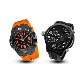 Joshua & Sons Men's Minute Track; Multifunction Silicone Strap Watch Set