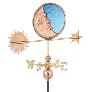 Good Directions Stained Glass Moon Polished Copper Weathervane