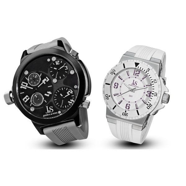 Joshua & Sons Men's Minute Track, Multifunction Silicone Strap Watch Set