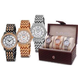 August Steiner Women's Dazzling Diamond Bracelet Watch Set