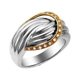 Sonia Bitton 14k Gold/Silver Designer Buckle Diamond Ring (H-I, I1-I2)
