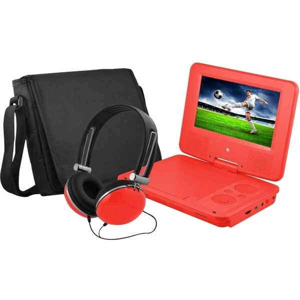 """Ematic EPD707 Portable DVD Player - 7"""" Display - 480 x 234 - Red 12506580"""