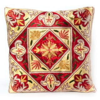 Red Dense Chain Stitch Embroidered Kashmiri Floral Cushion Cover (India)