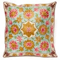 Pink Dense Chain Stitch Embroidered Floral Kashmiri Cushion Cover (India)