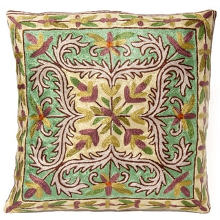 Aqua Dense Chain Stitch Embroidered Floral Kashmiri Cushion Cover (India)