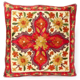 Red Dense Chain Stitch Embroidered Floral Kashmiri Cushion Cover (India)