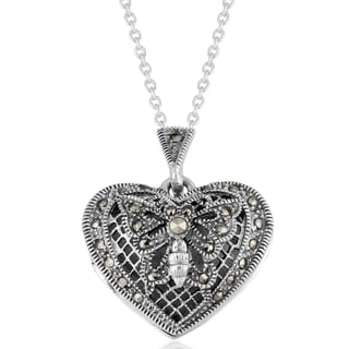 Sterling Silver Marcasite 'Butterfly' Locket Necklace (Thailand)