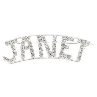 Silverplated 'Janet' Crystal Name Pin
