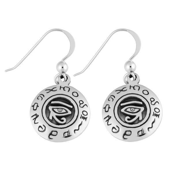 .925 Sterling Silver Round 'Eye of Ra' Dangle Earrings (Thailand)