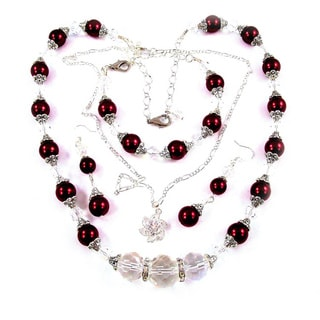 Cranberry Red Glass Pearl 4-piece Wedding Jewelry Set