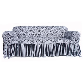 Black/White Damask and Stripe Ruffled Loveseat Slipcover