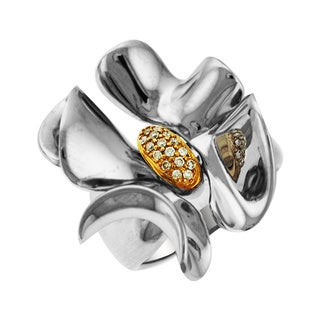Sonia Bitton 14k Gold/Silver Designer Diamond Flower Ring (H-I, SI1-SI2)