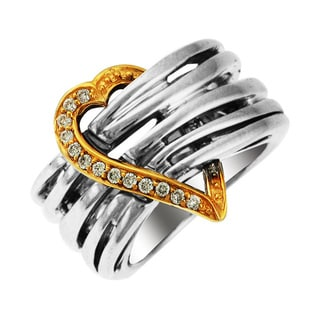 Sonia Bitton 14k Gold/Silver Designer Diamond Heart Ring (H-I, SI1-SI2)
