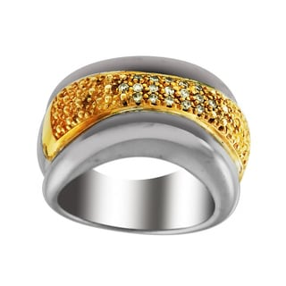 Sonia Bitton 14k Gold/Silver Designer Two Tone Diamond Ring (H-I, SI1-SI2)