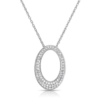 Eloquence 14k White Gold 1/2ct TDW Diamond Oval Necklace (H-I, I1-I2)
