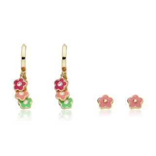 Little Miss Twins Stars 14k Goldplated Earrings with Bonus Studs