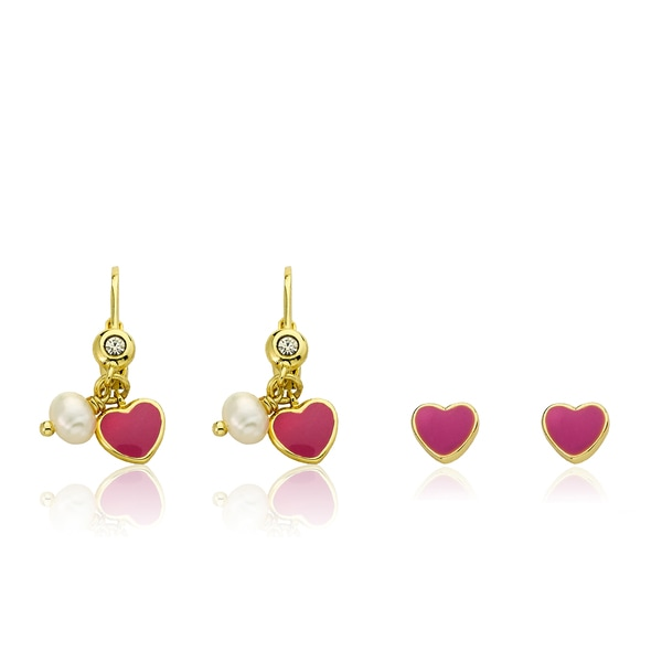 Little Miss Twin Stars 14k Goldplated Hot Pink Enamel Leverback Earrings with Bonus Studs